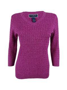 Karen Scott Women's Marled V-Neck Sweater