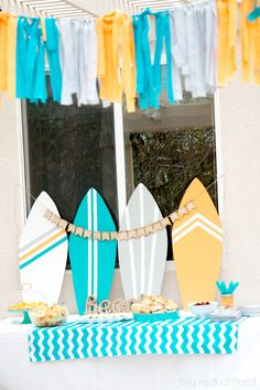 DIY beachy surfer dude baby shower in teal and orange. recipes included. | bigredclifford.com                                                                                                                                                                                 Mais