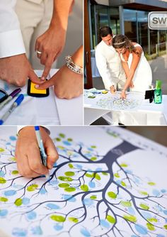 love this wedding guest book idea.