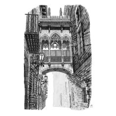 Pont del Bisbe, Barcelona, Spain. Architecture Immaculate Drawing Technique. By Elizabeth Mishanina.