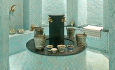 Spa Tigmiza Moroccan Design, Moroccan Style, Visit Marrakech, Aqua, Turquoise, Space Place, Soothing Colors, Relaxing Bath, Eye For Detail