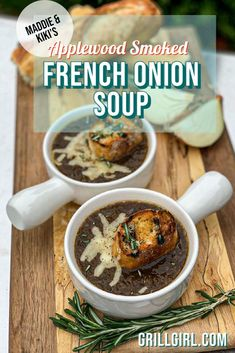 This is one of the most comforting soups there are! Smoking the onions in this recipe makes ALL THE DIFFERENCE! It takes the classic familiar flavour of French onion soup and elevates it to a super elegant and fancy appetizer or main side dish. Perfect for an intimate gathering at home this holiday season, our smoked French onion soup is the perfect cup of warmth to provide comfort. #frenchonionsoup #appplewoodsmoked #holidayrecipes #maindish #frenchonionsoup #soup #comfortfood Easy Bbq Recipes, Smoker Recipes, Chili Recipes, Grilling Recipes, Chowder Recipes, Soup Recipes, French Onion Soup Bowls, Green Egg Recipes, Fancy Appetizers