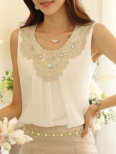 White Chiffon Blouse w/ Gold Embroidery NWT chiffon sleeveless blouse embroidered with cream and gold colored lace detail. Runs small - women's XL fits size [not actually anthropologie; listed for exposure] Anthropologie Tops Blouses Cheap Blouses, Blouses For Women, Lace Blouses, Super Moda, Cheap Womens Tops, Trendy Tops, Plus Size Blouses, Blouse Styles, Chiffon Tops