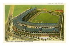 Wrigley Field, Home Grounds of Chicago Cubs Art Print Baseball Park, Chicago Cubs Baseball, Baseball Teams, Baseball Gloves, Bears Football, Tigers Baseball, Baseball Stuff, Baseball Shirts, Chicago Bears