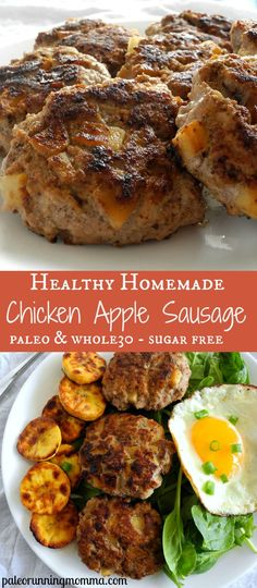 Healthy recipe for homemade chicken apple sausage. Easy and perfect for any meal and can be made ahead! paleo for beginners whole 30 Recetas Whole30, Sausage Breakfast, Paleo Breakfast, Breakfast Recipes, Mcdonalds Breakfast, Breakfast Cookies, Ketogenic Breakfast, Paleo Recipes, Dinner Ideas