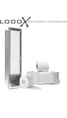 LoooX Closed inbouw reserverolhouder v. 6 rollen RVS CL1 Toilet Paper, New Homes, House Design, Organization, Interior Design, Bathrooms, Storage, House Ideas, Dream Bathrooms