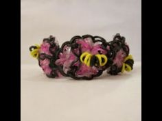 Rainbow Loom HONEY (Bee) Bracelet on 1 loom. Designed and loomed by Claire's Wears. Click photo for YouTube tutorial. 04/23/14.