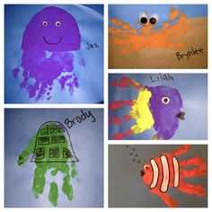 Under the sea crafts. Ocean crafts. Great for the nursery, one year olds, and two year olds.