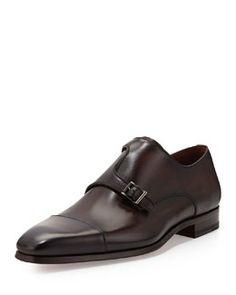 M0DVJ Magnanni Off-Center Double-Monk Shoe, Black
