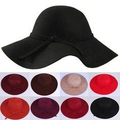 ... alta calidad 100% lana nueva moda Vintage de las señoras de las mujeres  Floppy ala ancha de fieltro de lana sombrero Cloche sombrero de wool felt  fedora ... cfae02398ae