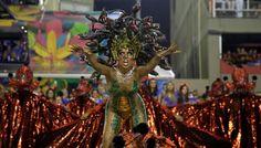 A reveler from Salgueiro samba school performs at the Sambadrome in Rio de Janeiro.