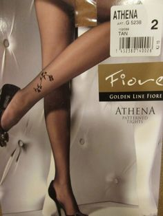 FIORE ATHENA ABOVE ANKLE FLORAL  DESIGN 20 DENIER PANTYHOSE TIGHTS SIZE 2  #Fiore #Pantyhose