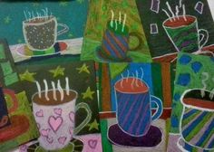 5th graders designed a mug and saucer on a background separating the tablecloth from the wallpaper with a horizon line.