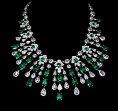 Emerald and Diamond Necklace by David Morris