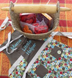 Pair our Lil' Hostess Apron, Hostess Apron, and Magazine basket with a few goodies for your favorite lil baker and mom/grandmother...great memories are sure to be made!