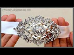 VIDEO- Vintage Inspired Rhinestone and Pearl Ribbon Bridal Headband ~  Wear on top for more classic style or across forehead for a more modern bohemian wedding day look.