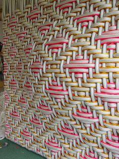 'European Monarchs: Phillip' (2004) by Spanish artist & designer Dani Marti (b.1963). Stainless steel hose, nylon and polyester on wood, 270 x 260 x 90 cm. via the artist's site