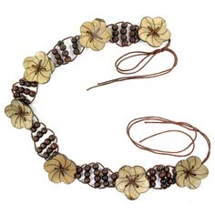 Coconut Shell & Wood Bead Belt, Floral Design (Rounded Petals)