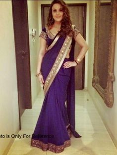 Navy Blue Plain Chiffon Silk Saree With Blouse @ 2299 only