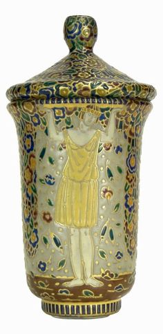 "Auguste Heiligenstein (1891-1976), ""Les Trois Graces"", Enamel Decorated Glass Covered Jar."
