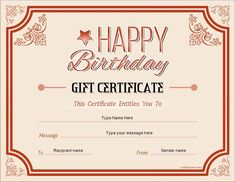 Birthday Gift Certificate For MS Word DOWNLOAD At Certificatesinn