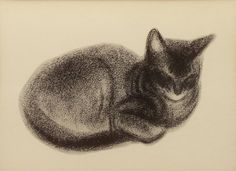 1950s Abyssinian Kitten, Vintage Cat Print Illustration, Clare Turlay Newberry