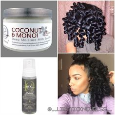 Yall remember this #permrod set from last week? I used #designessentials Curl Enhancing Mousse & Coconut & Monoi Deep Moisture Milk Soufflé! The mousse is definitely a product that paired with many different things always gives a soft long lasting hold! Awesome stuff!