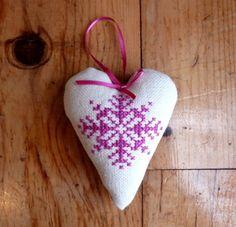 Snowflake cross stitch christmas tree heart decoration