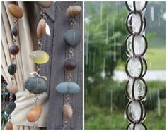 10 DIY Rain Chain Projects - A rain chain is a simple vertical chain that hangs from a roof and it is usually placed beneath a gutter opening or inserted into your existing rain gutter drain hole.