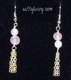 Rose Quartz and Chain Earrings make these cool beaded earrings