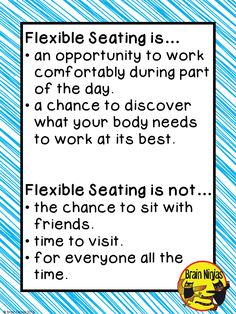 Flexible Seating Anchor Chart-Comes with a blog post about how to implement flexible seating in your classroom for FREE!