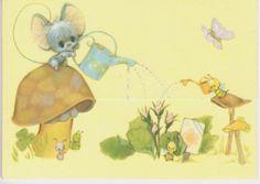 Vintage Hallmark Greeting Card Envelope Tri-fold Adorable Mouse Caterpillar New