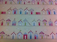 "FRYETT`S Cotton BEACH HUT ""PINK"" SEASIDE Fabric for Curtain/Upholstery,Crafts. 