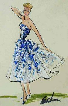 Elois Jenssen Costume Sketch for Lucy Lucy costume sketch by Elois Jenssen Vintage Fashion Sketches, Fashion Illustration Vintage, Fashion Illustrations, Vintage Dress Patterns, Vintage Dresses, Vintage Outfits, 1950s Fashion, Fashion Art, Fashion Design