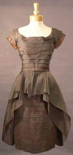 DRAMATIC Grey Organdy 1950's Cocktail Dress w/ Pleats