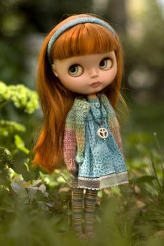 Blue Skies Forever Play Dress And Knitted Sweater, Candy Stripe Stockings, Matching Headband, And Beaded Peace Necklace For Blythe Doll