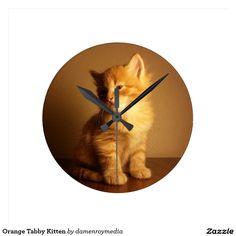 Orange Tabby Kitten Round Wallclock