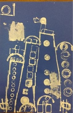 Mrs. Knight's Smartest Artists: Stamp Print Architecture, KDG 2013. Blue prints. Such a fun idea! Kids even rolled up their blue prints like a real architect.