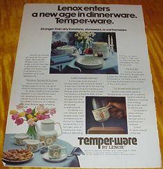 1978 Lenox Temperware Dinnerwear 1 Page Ad #093016 | eBay
