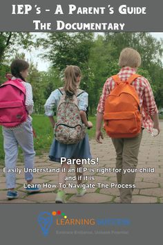 This documentary help's parent's decide if an IEP is right for their child and if it is explains the process. Make a difficult situation easier by watching this free full length documentary. Packed with information from a variety of experts and experienced parents. Save yourself time and frustration by becoming informed.