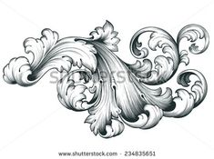 Find Vintage Baroque Engraving Floral Scroll Filigree stock images in HD and millions of other royalty-free stock photos, illustrations and vectors in the Shutterstock collection. Leaf Tattoos, Body Art Tattoos, Filagree Tattoo, Ship Tattoo Sleeves, Filigranes Design, Ornament Drawing, Tattoo Lettering Fonts, Engraving Art, Desenho Tattoo
