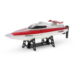 RC Speedboat White Red Color 20mph+ by podoqo