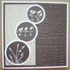 Hand made birthday card using SU Wetlands stamps and happy birthday embossing folder