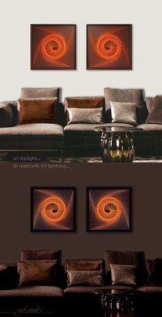 Glowing at Night! Neon Art - Mystical Orange Brown UV Wall Art for Home, Office, Bar, Spa, Chill out, Meditation, Yoga...Need some help with colours and size? Send me your Image of your Wall and I help you out.