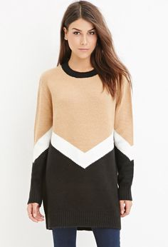 Chevron-Patterned Longline Sweater - Sweatshirts & Knits - Patterned - 2000178880 - Forever 21 UK