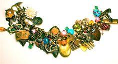 Charm bracelet w/vintage beads & charms