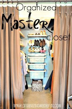 Organized Master Closet ~ It's amazing how removing closet doors and replacing them with curtains warms up your bedroom!  Some of the fabulous organizational ideas include decorating see-through storage containers with wrapping paper.