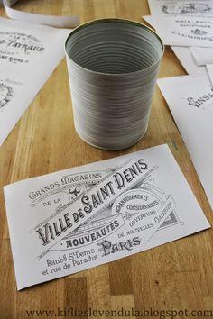 Croissant and Lavender - Tin cans vintage decor