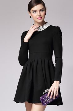 Black Bead Stand Collar Long Sleeve Pleated Dress.