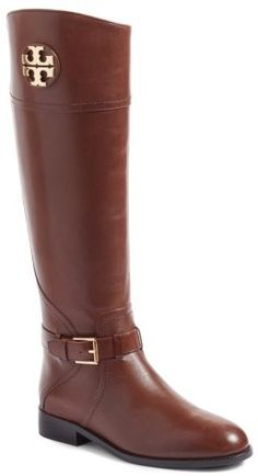 Women's Tory Burch Adeline Boot  A gleaming logo medallion adds signature shine to a tall, lustrous leather riding boot girded at the ankle with an adjustable buckled strap. Brand: TORY BURCH. Style Name:Tory Burch Adeline Boot (Women) (Regular & Wide Calf). Style Number: 5355338. Available in stores.